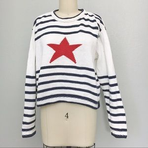 Vintage cropped striped American sweater